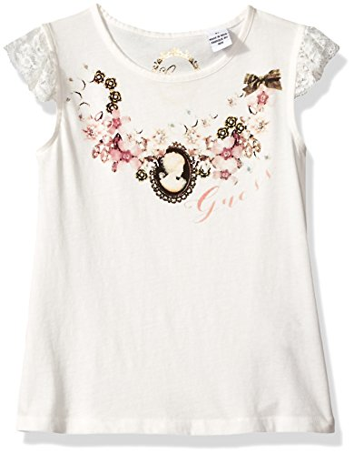 Jewelled Lace - GUESS Little Girls' Sleeveless Lace and Jewelled T-Shirt, Milk, 5