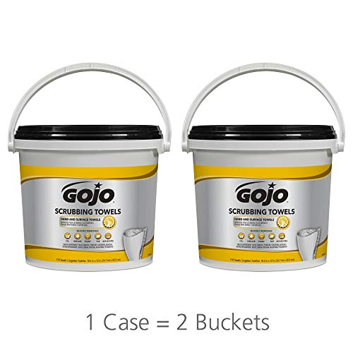 (GOJO Scrubbing Towels, Fresh Citrus Scent, 170 Count Extra Large Dual Textured Wipes Bucket (Pack of 2) - 6398-02)