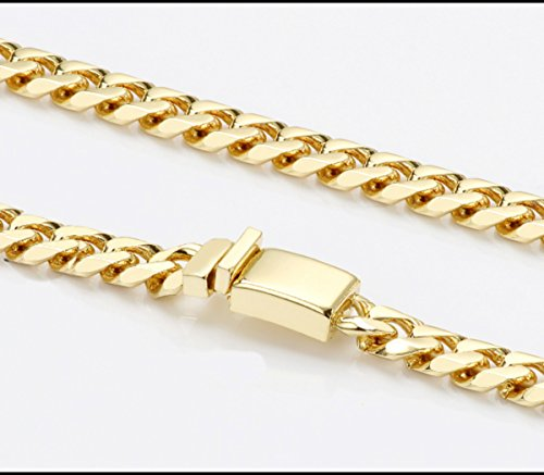 Gold chain necklace 14.5MM 24K Diamond cut Smooth Cuban Link with Warranty Of A LifeTimeLifetime USA made (28) by 14k Diamond Cut Smooth Cuban (Image #3)
