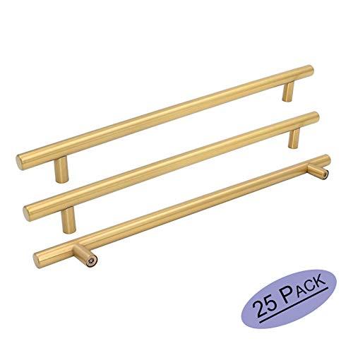 Goldenwarm 25pcs Brushed Brass Kitchen Cabinet Hardware Handle 1/2 Diameter T Bar Handles Furniture Gold Door Drawer Pulls Knobs Hole Spacing 256mm 10in