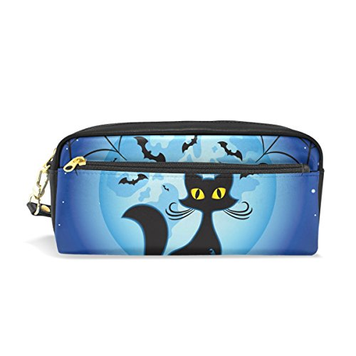 ColourLife Halloween Pumpkin Cat Leather Zipper Pencil Case Holder Makeup Cosmetic Bag for Adult Kid ()