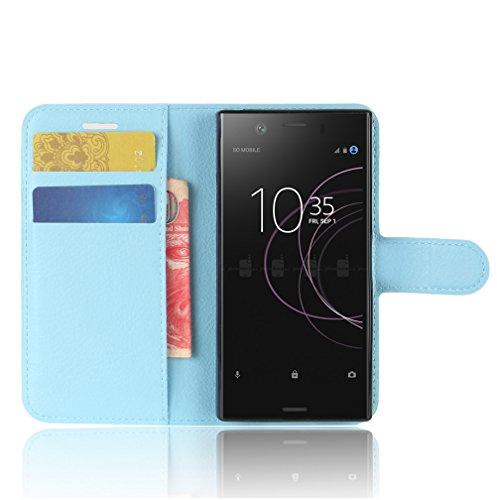 Funda Sony Xperia XZ1 Compact,Manyip Caja del teléfono del cuero,Protector de Pantalla de Slim Case Estilo Billetera con Ranuras para Tarjetas, Soporte Plegable, Cierre Magnético E
