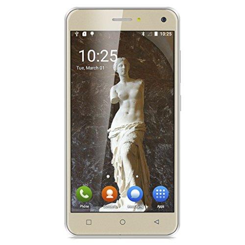 TIMMY X9 5.0 Zoll 3G Smartphone Android 5.1 IPS Screen 1.3GHz Quad Core Dual SIM 1GB RAM+8GB ROM 5.0MP + 2.0MP Dual Kamera Handy ohne Vertrag Smart Wake Gold