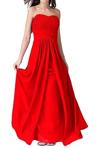 Schnuerung Damen aermellos Abendkleid Falte Chiffon Brautfernkleid Rot Ivydressing lang Herzform Partykleid Rueckenfrei Sweetheart 1dqgw00