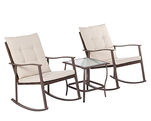 Solaura Outdoor Furniture 3-Piece Rocking Wicker Bistro Set Brown Wicker Beige Cushions - Two Chairs Glass Coffee Table -