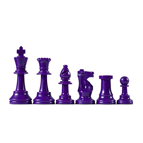 Wholesale Chess Triple Weighted Staunton Colored Pieces (Purple) by Wholesale Chess