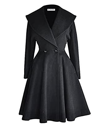 Amazon.com: Begonia.K Women's Wool Trench Coat Lapel Wrap Swing Winter Long Overcoat Jacket
