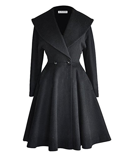 Long Black Swing Coat - 1
