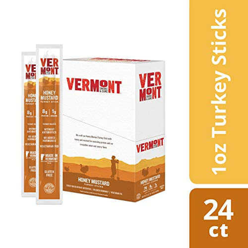 Vermont Smoke & Cure Meat Sticks, Turkey, Antibiotic Free, Gluten Free, Honey Mustard, 1oz Stick, 24 Count made in New England