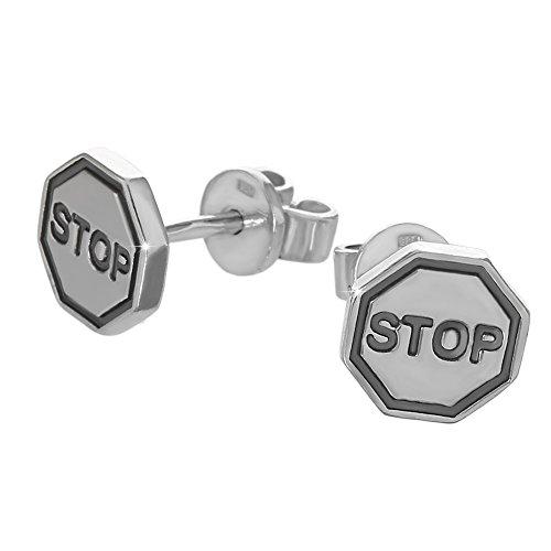 NKlaus Paar große Ohrstecker 925er Sterlingsilber Ohrringe Stop Warnzeichen neu 6186