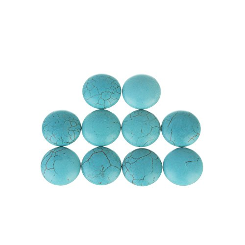 Stone Flat Round Beads (Linsoir Beads Adorable Blue Synthetic Turquoise Stone Cabochons December Power Stone Jewelry Round Flat-Back Design No Hole Dia=25mm Pack of 10)