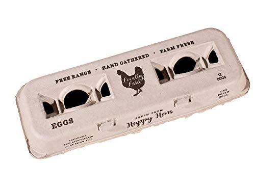 Farm Fresh Printed Egg Cartons- One Dozen Eggs, 100% Recycled Paper Pulp Carton, Bulk Value 250-Pack (Custom Carton)