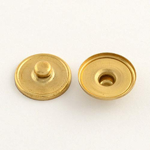 100PCS Brass Snap Buttons Cabochon Settings Stud Findings Round Golden 18x6mm