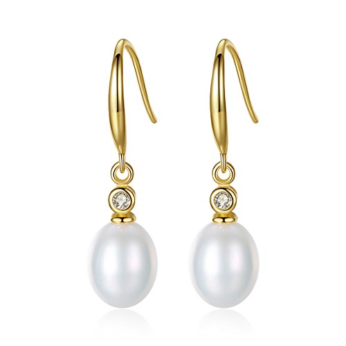 18K Gold Plated Sterling Silver Freshwater Cultured Pearl Earrings for Women and Girls (White)