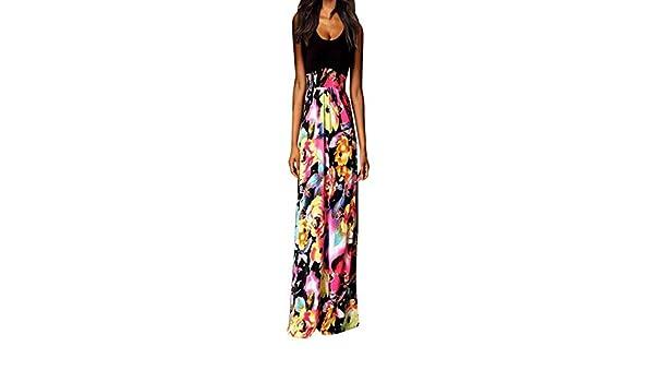 a1dbce13baf Sttech1 Women Tunic Tops Dresses Lady Plus Size Sleeveless Sundress Summer  Beachwear Long Maxi Dress at Amazon Women s Clothing store