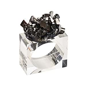 Kim Seybert Geode Napkin Ring In Gunmetal, Set of 4