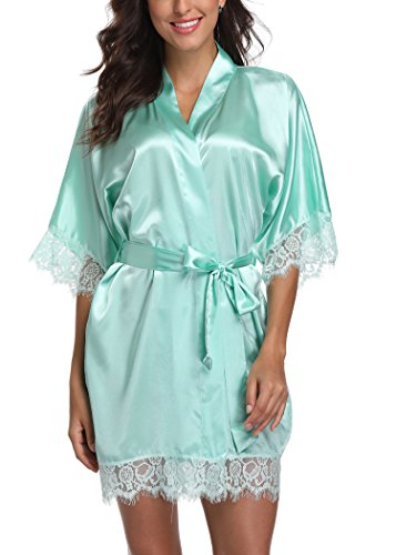 Short Satin Kimono Robes Women Pure Color Bridemaids Bath Robe with Lace Trim