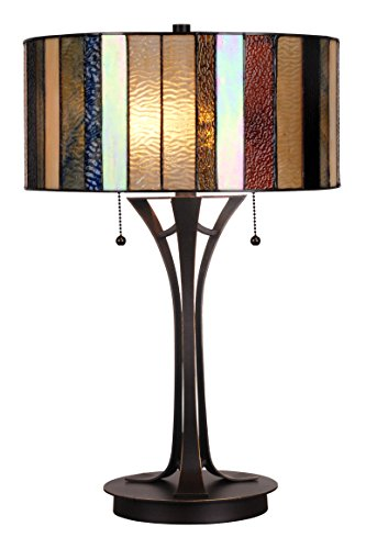 Handcrafted Tiffany Style Table Lamp 14 inch Shade Diameter 22.5 inch Base Height - Red Glass Table Lamp