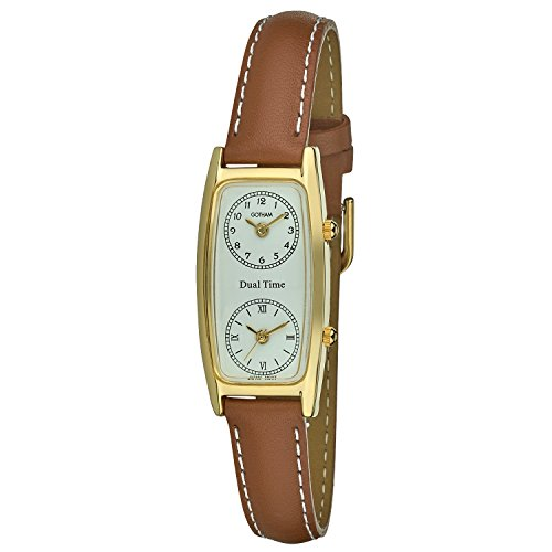 Gotham Women's Gold-Tone Dual Time Zone Leather Strap Watch # (Womens Dual Time Watch)