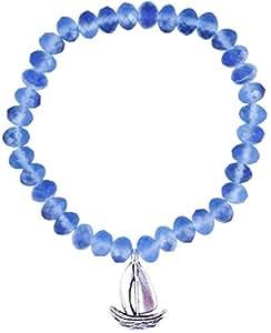 Il Signor Mens Aquamarine Beads On the Sea Bracelet, 17 cm