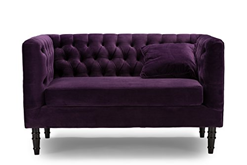 Baxton Studio Rylee Purple Velvet Button Tufted Loveseat
