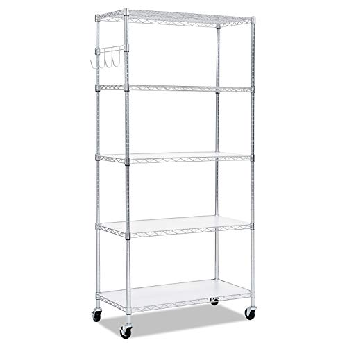 - Alera 5-Shelf Wire Shelving Kit, 36w x 18d x 72h, Silver
