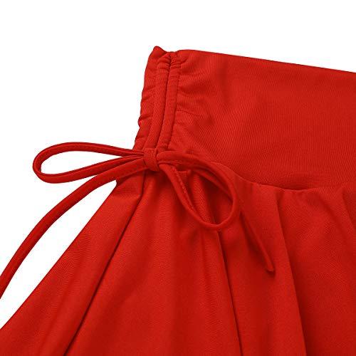 Latin Haute S Rouge Tango Femme Iefiel Cancan xxxl Jupe Gym Court Taille Tutu Ballet De Danse Yoga Extensible Plissé Sport xnw0nqv1T