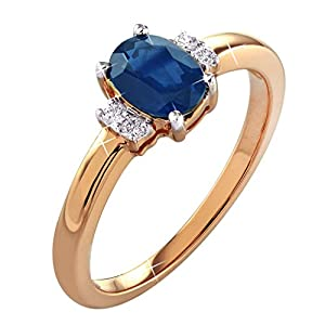0.92 Ct. Natural White Diamond & Blue Sapphire Engagement Ring In 14K Rose Gold For Women