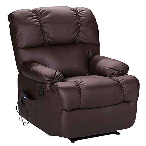 - Massage Recliner Chair with Heat and Vibrating, WATERJOY Full Body Leather Massage Chair with Control Black Sofa Chair Recliner for Living Room (Brown)