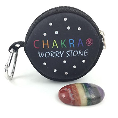 CHAKRA WORRY STONE- 7 Bonded Chakra Palm and Thumb Stone-Spinner Stones Meditation Rainbow Stone with Clip-On Neoprene Carry Bag (Meditation Stone)