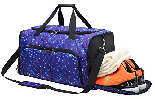 FANCYOUT Sports Gym Bag with Shoes Compartment & Wet Pocket, Travel Duffel Bag for Men and Women (Star Blue)