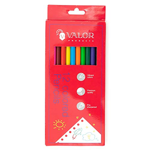 Valor Products Colored Pencils, Pre-sharpened, Back to School Supplies, 12 Assorted Colors, Pack of 576