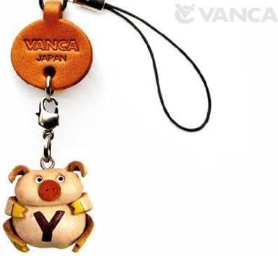 本革 携帯ストラップ プチ イニシャル 動物 ぶた Y 【VANCA】【日本製 職人によるハンドメイド】