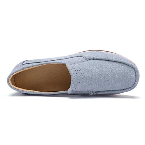 Grigio Scarpe Z Scamosciata Mocassini Donna Pelle In suo Comode Loafers Moda Da Guida W774zqAp