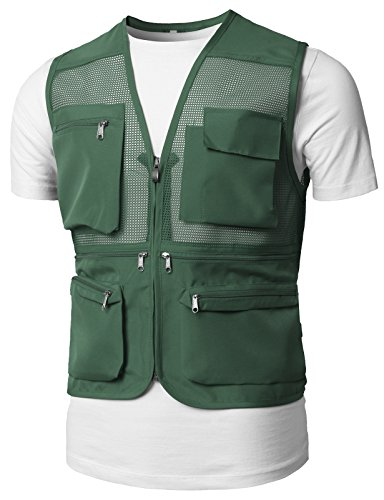 H2H Mens Active Nylon Combat Vest with Safety Zipper Khaki US M/Asia L (KMOV0150) (Vest Diamond Quilted Nylon)