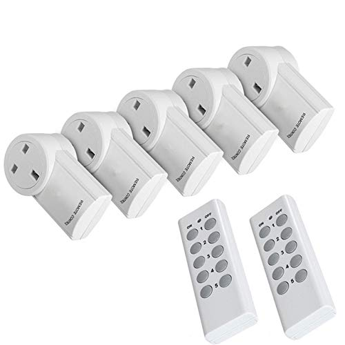 Calvas 433mhz Remote Control Outlet Light Switch Plug Socket Adaptor Set UK AC Power Mains Switch for Home Appliances…