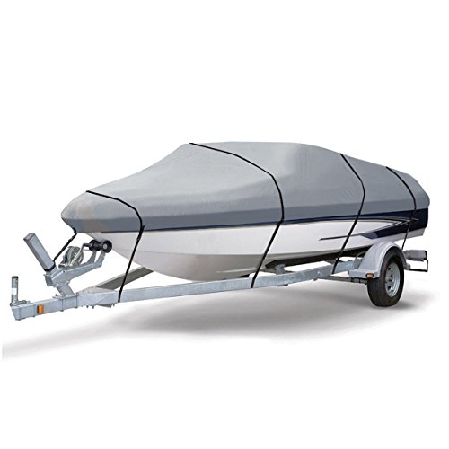 U-max Boat Cover Heavy Duty 600D V-HULL Waterproof All-Weather Ripstop Fabric Panels Trailer Fishing Covers (20' - 22' L × 106