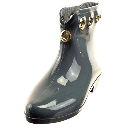 Sopily - Scarpe da Moda Stivaletti - Scarponcini Stivali pioggia donna metallico Tacco a blocco 2.5 CM - Grigio