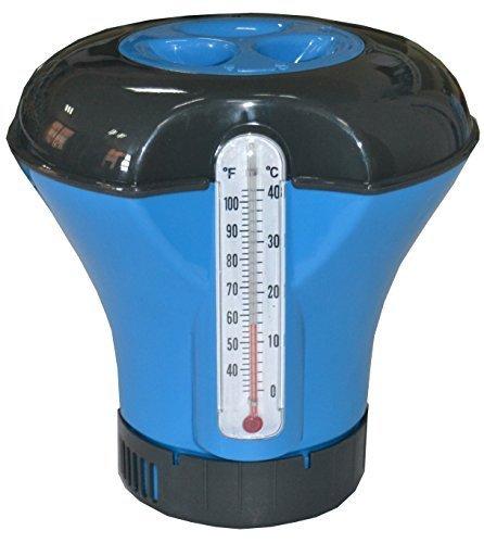 well2wellness® Chlor Dosierschwimmer / Chlordosierer inkl. Thermometer für 200g Chlortabletten