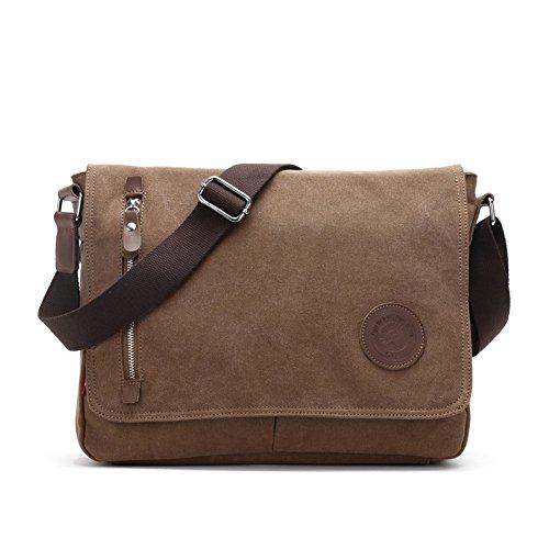 Kigurumi Canvas Tasche Herren Schultertasche Messenger Bag für Student Tasche Braun pCEeqIRi