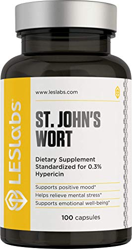 LES Labs St. Johns Wort Extract, Natural Supplement for Stress & Anxiety Relief, Positive Mood, 0.3% Hypericin, 500mg, 100 Capsules