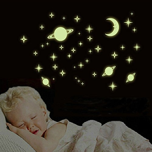 Amaonm Removable DIY Glow in The Dark Luminous Light Planet World Outer Space Universe Fluorescent Stickers Stars Moon Earth Wall Decals Toy Games for Kids Bedroom