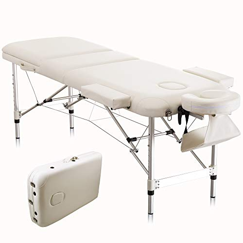 Protable Massage Table 73″ Aluminium Spa Bed 3 Fold Height Adjustable with Carrying Bag and Additional Accessories,White