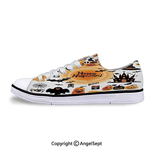Women Sneakers Objects Haunted House Owl and Lace-up Low Top Canvas Shoes]()