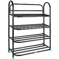 SunRise 4 Shelves Metal Shoe Stand (Black)