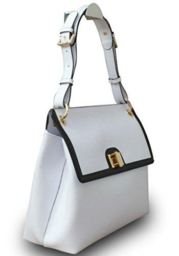 Fabriqué en Italie Designer épaule Sac Hobo Femme Cube en cuir véritable it Bag Blanc