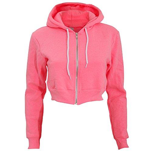 con Felpa manica fluo zip a Donna cappuccio corta e rosa chiusura Apparel Flex American nxqSgS