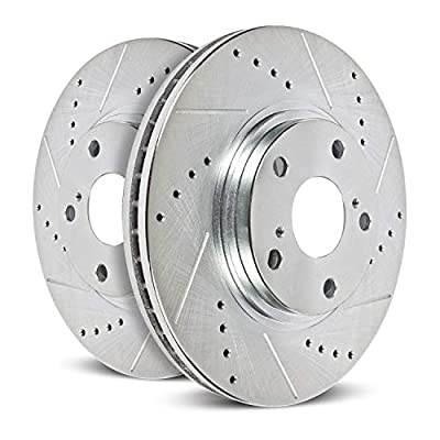 Power Stop EBR858XPR Front Evolution Drilled & Slotted Rotor Pair: Automotive