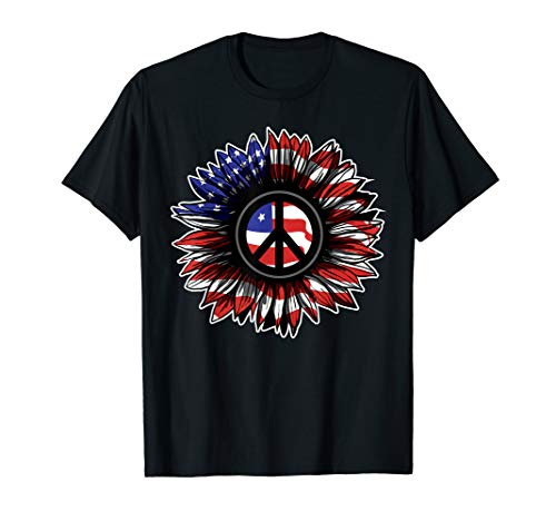 Flower Peace Sign Tshirt American Flag 4th of July T-Shirt Blue Peace Sign Womens T-shirt