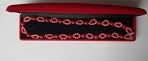 Stunning Red Pink Salmon Coral Round Beads Necklace Real 925 Sterling Silver Box